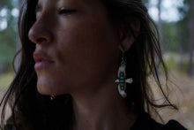 Load image into Gallery viewer, Bird of Prey Earrings with Turquoise + Gaspite Column