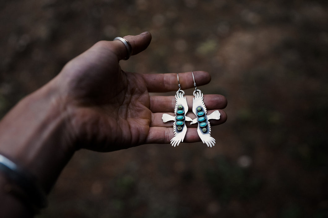 Bird of Prey Earrings with Turquoise + Gaspite Column