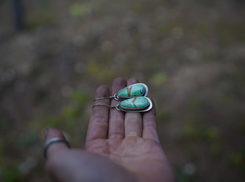 Alpine Lake Earrings. Turquoise + Reclaimed sterling silver.