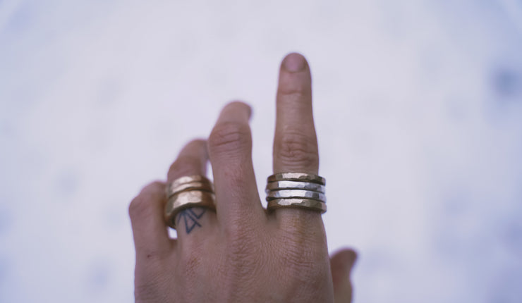 Drifter Ring. 7. Set of 2 silver + 2 gold fill. MED