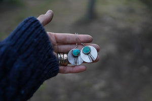 Artifact Earrings. Reclaimed Sterling silver + Rich Kingman Turquoise.  Hand stamped.