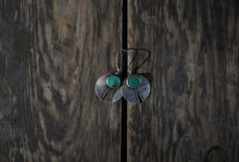 Load image into Gallery viewer, Artifact Earrings. Reclaimed Sterling silver + Rich Kingman Turquoise.  Hand stamped.