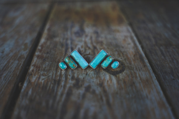 Bar Chart Earrings. American Mined Turquoise goodness