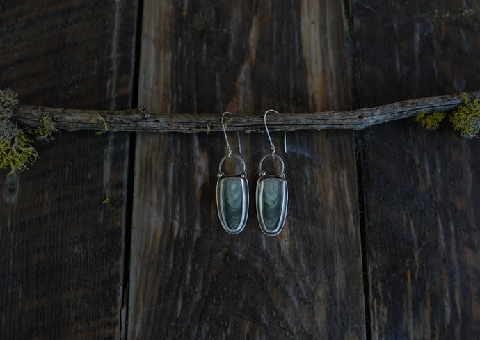 Woodland Earrings. Imperial Jasper+ Reclaimed sterling silver.