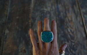 The Wetlands Ring 9~ Stunning cut of Chrysocolla Turquoise. Reclaimed sterling silver.