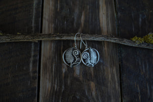 Unfurl Earrings.  Handcut ferns.  Reclaimed sterling silver.