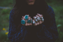 Load image into Gallery viewer, The Wetlands Ring~ Stunning cut of Chrysocolla Turquoise. Reclaimed sterling silver.