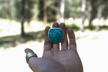 Load image into Gallery viewer, The Wetlands Ring 9~ Stunning cut of Chrysocolla Turquoise. Reclaimed sterling silver.