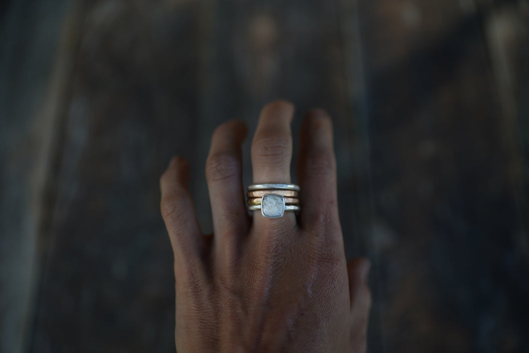 The Drifter Ring.8. A long awaited stacked set. Thick gauged Reclaimed sterling silver + gold fill + Sheep Creek Agate