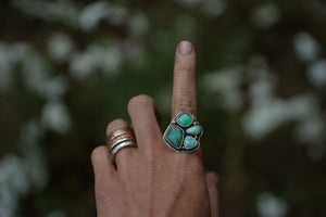 Fresh Water Ring. 7.25 Turquoise Fox Mine Clusters. Reclaimed sterling silver + 18kt Gold.