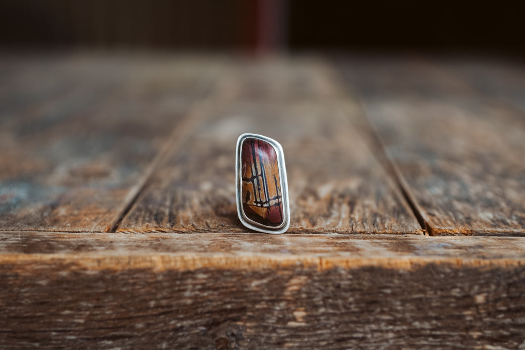 Desert Paint Ring. 8. Paintbrush Gemstone from Death Valley.  Simply set in rough, reclaimed, sterling silver.