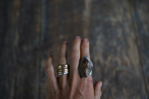 Desert Paint Ring. 9.25. Paintbrush Gemstone from Death Valley.  Simply set in rough, reclaimed, sterling silver.