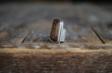 Load image into Gallery viewer, Desert Paint Ring. 8. Paintbrush Gemstone from Death Valley.  Simply set in rough, reclaimed, sterling silver.