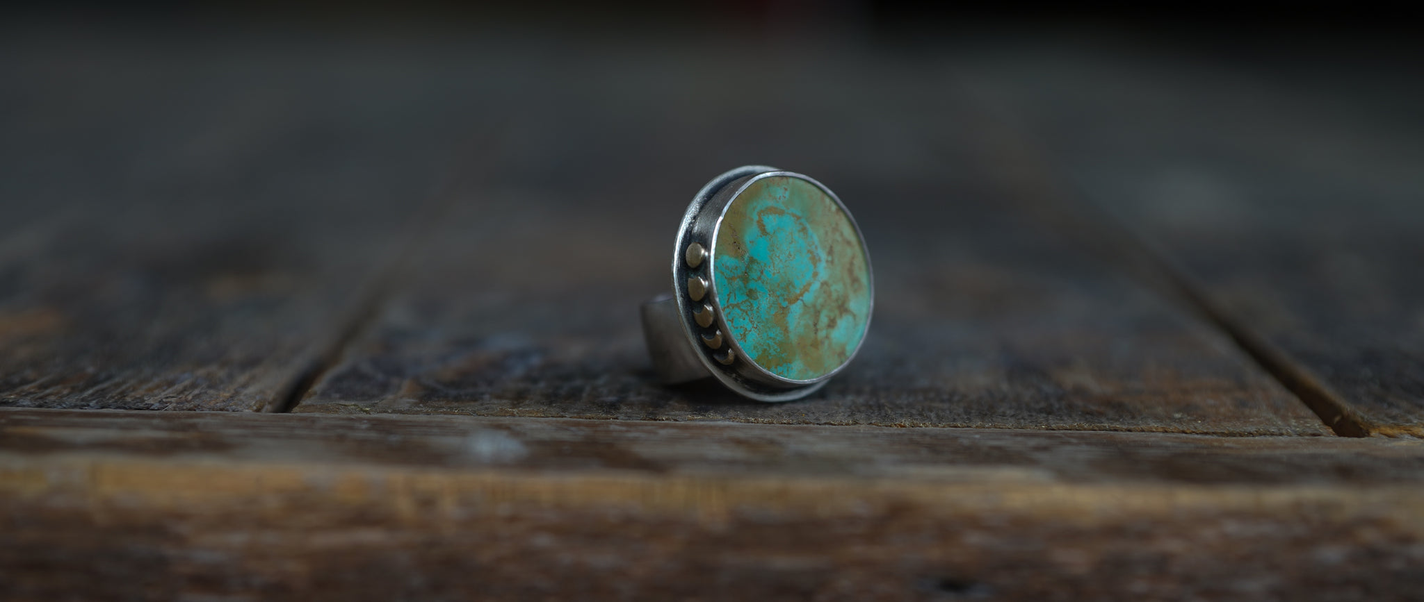 Solar System Ring  8  Circular cut of Turquoise + Reclaimed