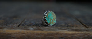 Solar System Ring. 8. Circular cut of Turquoise + Reclaimed sterling silver.  Gold filled Phases of the moon adorn the bezel.