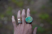 Load image into Gallery viewer, Solar System Ring. 8. Circular cut of Turquoise + Reclaimed sterling silver.  Gold filled Phases of the moon adorn the bezel.