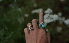 Load image into Gallery viewer, Fresh Water Ring. 7. Turquoise Fox Mine Clusters. Reclaimed sterling silver + 18kt Gold.