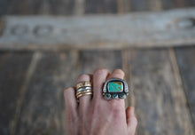 Load image into Gallery viewer, Random Events Ring. 7.75 Royston Turqoise + New Lander + Reclaimed sterling silver. 14kt gold