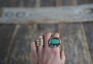Random Events Ring. 7.75 Royston Turqoise + New Lander + Reclaimed sterling silver. 14kt gold