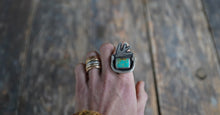 Load image into Gallery viewer, The Sparrow and the Snake Ring. 7.75 Royston Turqoise +Reclaimed sterling silver.
