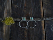 Load image into Gallery viewer, A little of This Earrings.  Stud + Hoop. Turquoise Tear drops+ Reclaimed sterling silver.