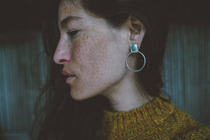 A little of This Earrings.  Stud + Hoop. Turquoise Tear drops+ Reclaimed sterling silver.