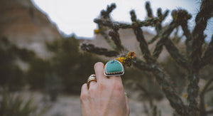 Moons over the Ridge Ring. 6.75 Hubei Turqoise + Handcut Mountain + Phases of the Moon +Reclaimed sterling silver.