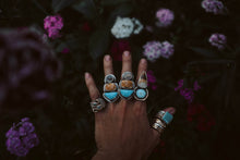 Load image into Gallery viewer, The High Seas Rings. Turquoise Fox Mine + Ocean Jasper +Dendritic Agate. Reclaimed sterling silver.