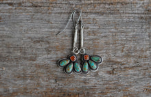 Load image into Gallery viewer, Fleur Earrings. Three Turquoise teardrops, topped with a Carnelian square. Reclaimed sterling.