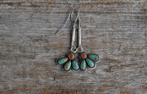 Fleur Earrings. Three Turquoise teardrops, topped with a Carnelian square. Reclaimed sterling.
