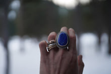 Load image into Gallery viewer, Antiquities Ring.  Lapis Lazuli+ 2 layers of thick gauge Reclaimed sterling silver.