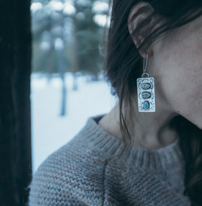Hieroglyphics Earrings + American mined new Lander Turquoise Column on reclaimed metal