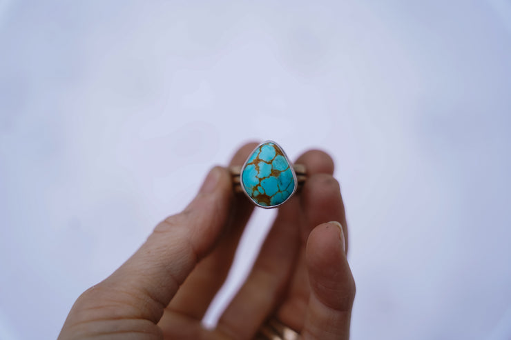 Fused Drifter Ring. #8 Turquoise .7 Wide band (Will fit a 6.5-6.75 best)