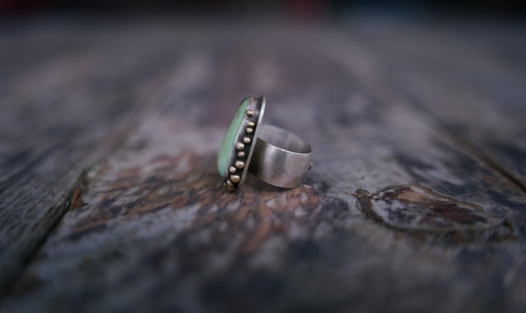 The Green Sea Ring. 6.5 wide (will fit a 5.75/6 best)