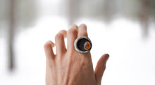 Load image into Gallery viewer, Sliver of the Moon Ring. 9. Baltic Amber + Reclaimed sterling silver.