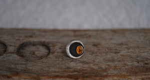 Sliver of the Moon Ring. 5.5. Baltic Amber + Reclaimed sterling silver.