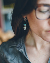 Load image into Gallery viewer, Karin Hoop Earrings. Turquoise + Reclaimed sterling silver.