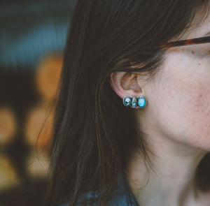 Climber Earrings. American Mined Turquoise goodness