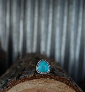 Moons over the Ridge Ring. 7.5 Kingman Turqoise + Handcut Mountain + Phases of the Moon +Reclaimed sterling silver.