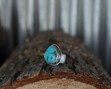 Load image into Gallery viewer, Moons over the Ridge Ring. 7.5 Kingman Turqoise + Handcut Mountain + Phases of the Moon +Reclaimed sterling silver.