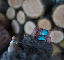 Load image into Gallery viewer, High Alpine Earrings. Turquoise + Reclaimed sterling silver.
