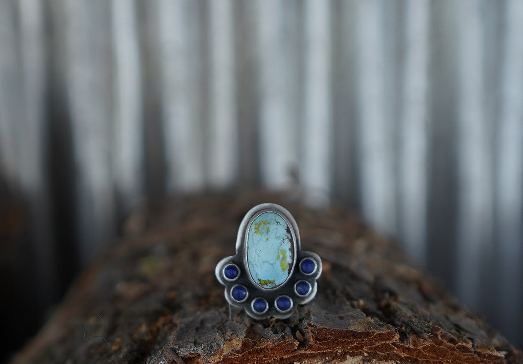 Tiny Universe Ring. 7. Gobi Turqoise + Lapis Azul + Reclaimed sterling silver.