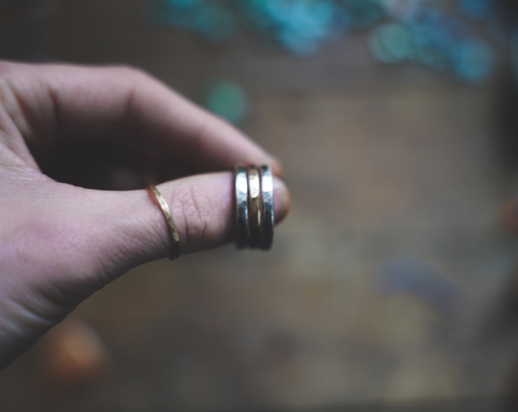 The Drifter Ring.  7.5 Set of 3 silver + gold fill.