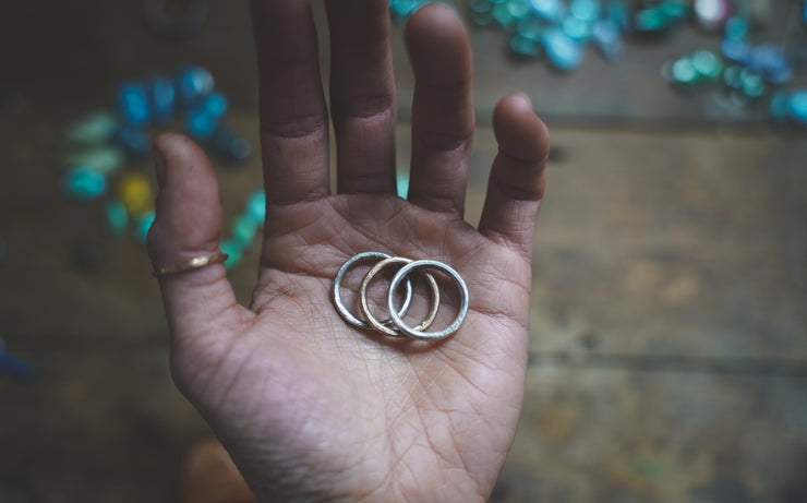 The Drifter Ring.  7.25 Set of 3 silver + gold fill stackers