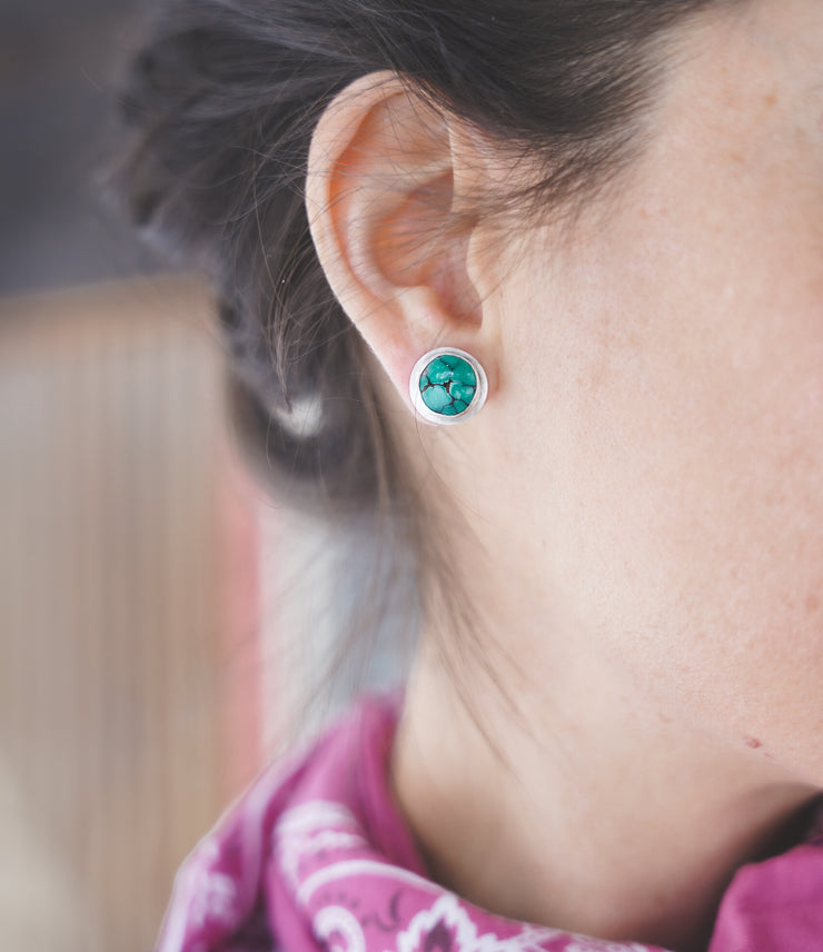 Tiny Planet Earrings. American Mined Turquoise goodness
