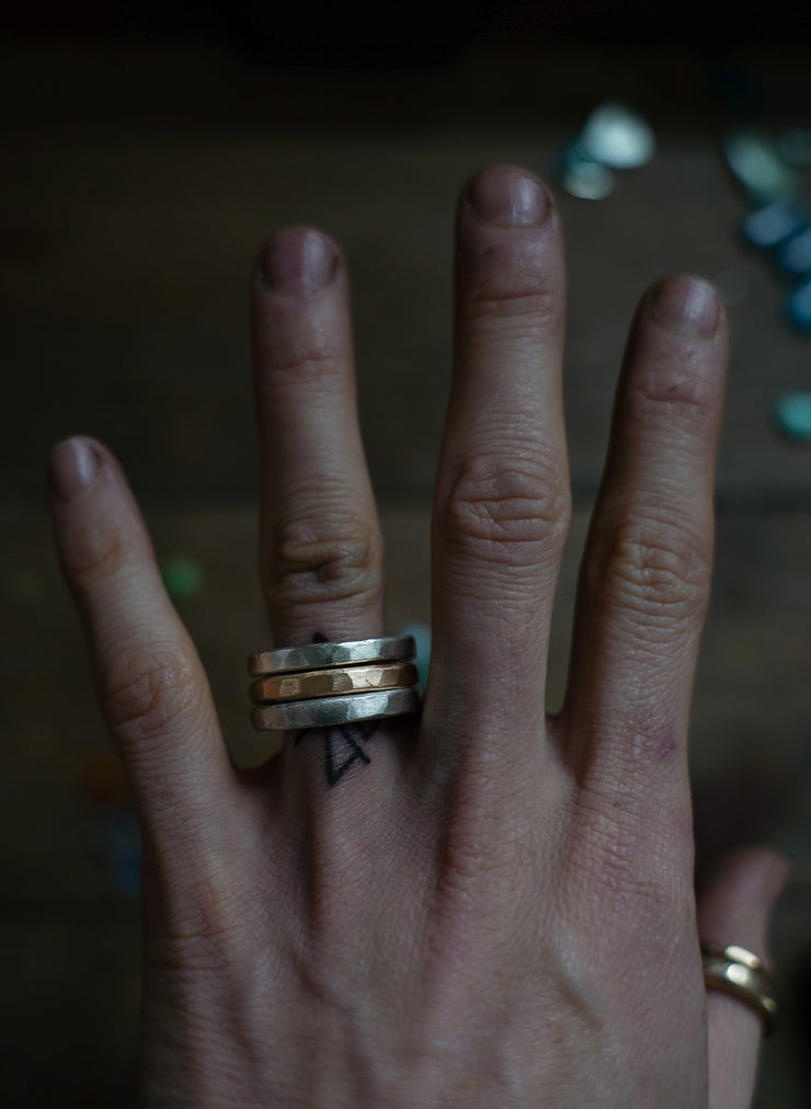 The Drifter Ring. 8. Set of 3 silver + gold fill stackers