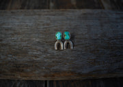 Athena earrings ll. Mixed metal + Turquoise posts.