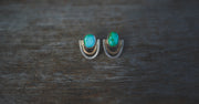 Athena earrings ll. Mixed metal + Turquoise posts. SM