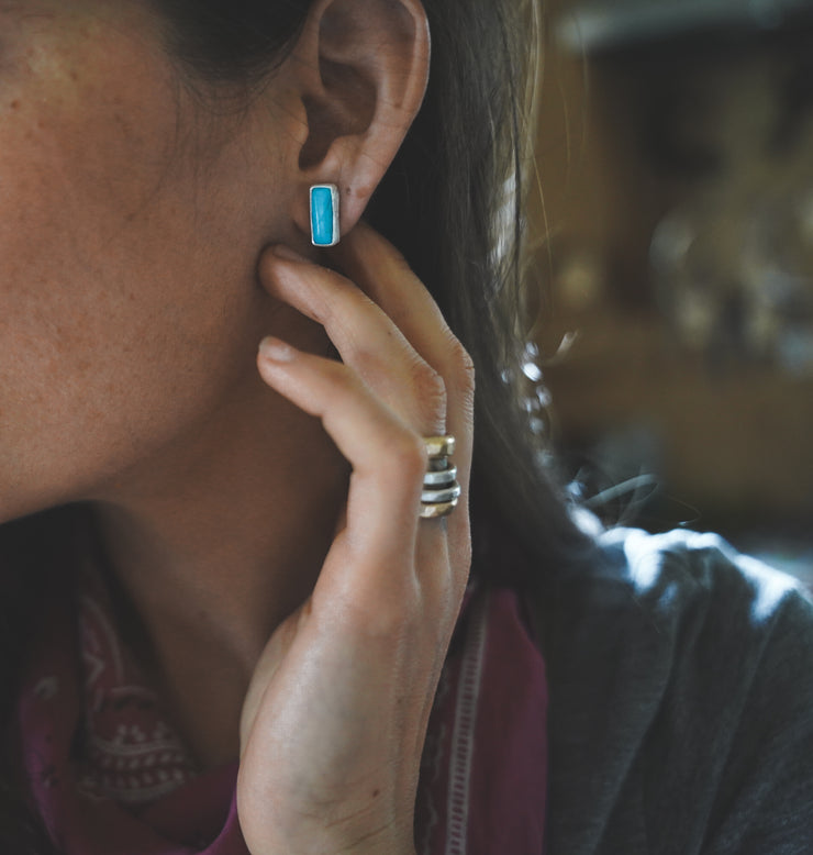 The Turquoise Bar Earrings. American Mined Turquoise goodness. MED