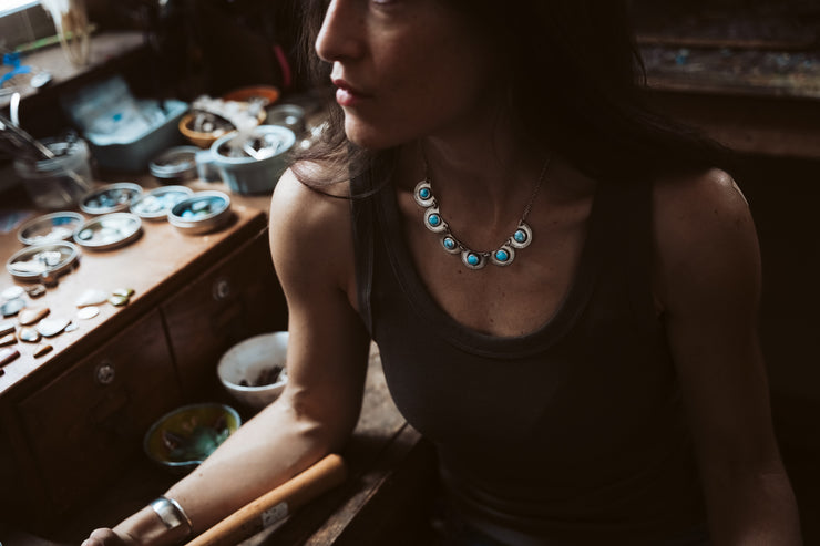 Titan Collar. Turquoise + Reclaimed sterling